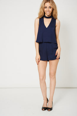 NAVY DOUBLE LAYER CHOKER OPEN BACK PLAYSUIT EX-BRANDED - Penny Store Limited