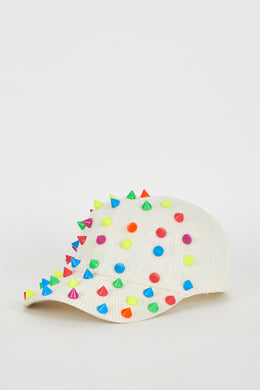 CREAM HAT WITH COLOURFUL SPIKES - Penny Store Limited