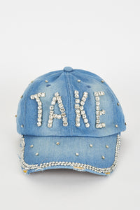 DENIM HAT WITH RHINESTONE DIAMANTE DETAIL - Penny Store Limited