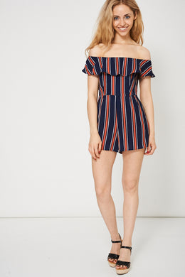 RUFFLE TRIM STRIPE PRINTED PLAYSUIT - Penny Store Limited