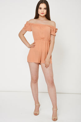 NUDE OFF SHOULDER PLAYSUIT - Penny Store Limited