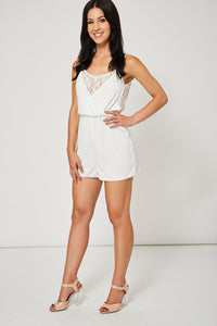 FLORAL LACE CAMI PLAYSUIT IN WHITE EX-BRANDED - Penny Store Limited