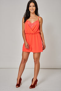 FLORAL LACE CAMI PLAYSUIT IN NEON PINK EX-BRANDED - Penny Store Limited