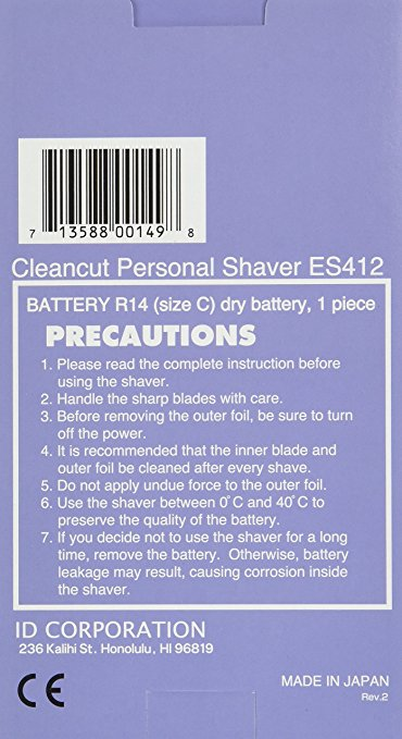 Seiko Cleancut Personal Shaver Instructions