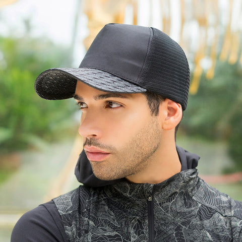 Leather Brim Black Mesh Snapback Trucker Hat