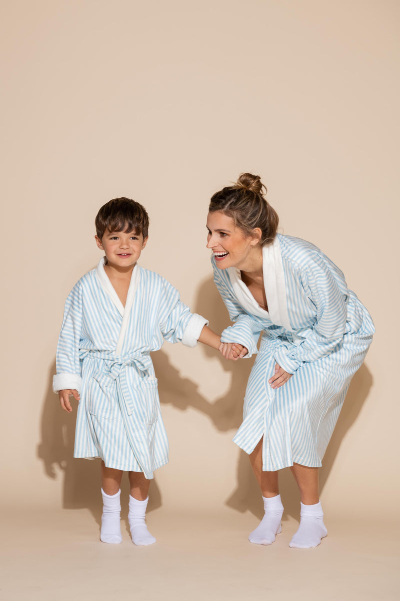 Blue Stripe w/ Mommy Long Robe