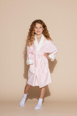 Pink Stripe Kids Robe