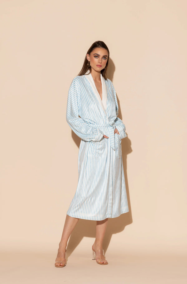 Blue Stripes Long Robe