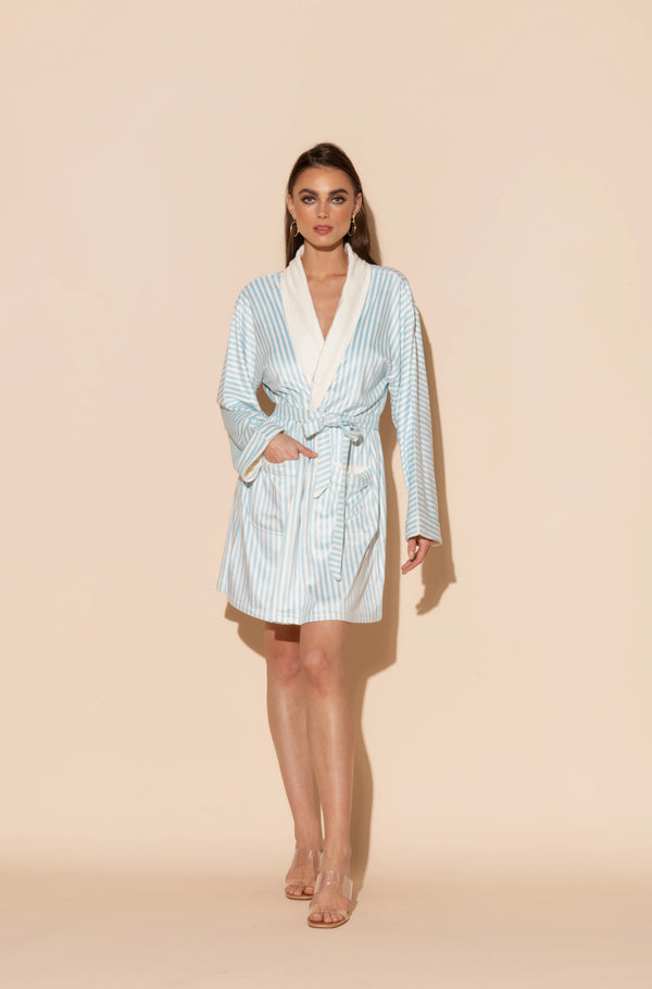 Blue Stripes Short Robe