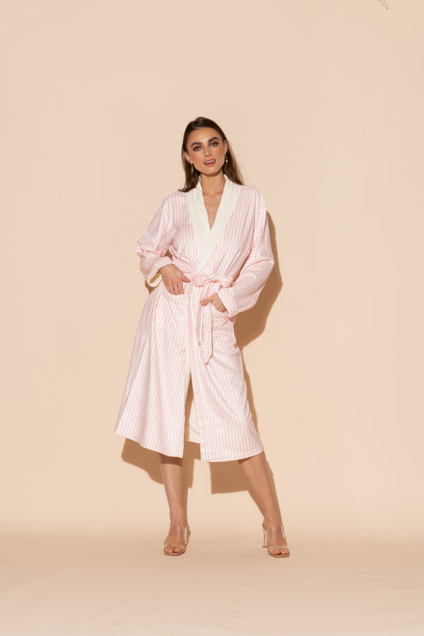 Pink Stripes Long Robe