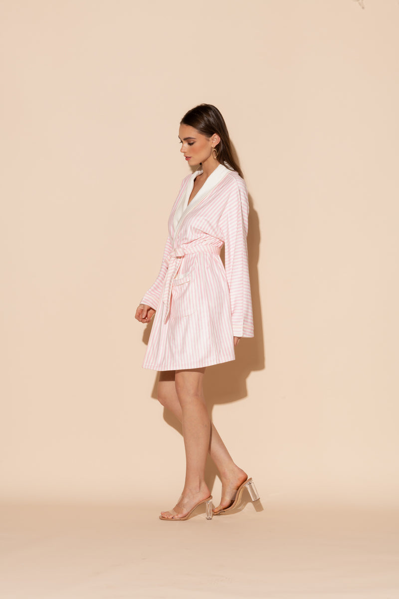 Pink Stripes Short Robe
