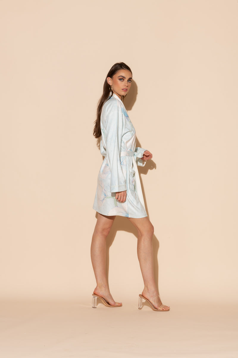 Serena Blue Short Robe