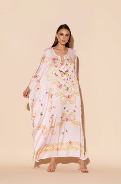 Pink Butterflies Long Caftan