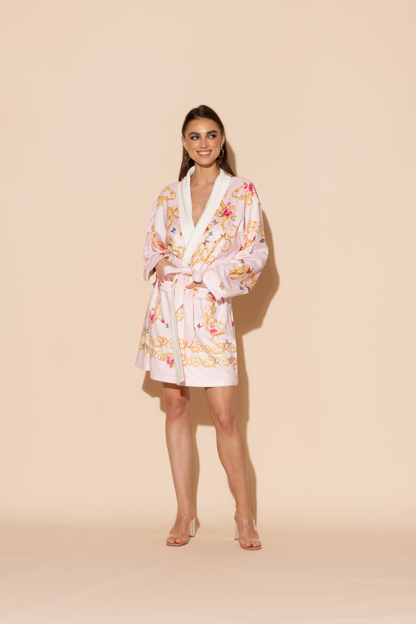 Pink Butterflies Short Robe