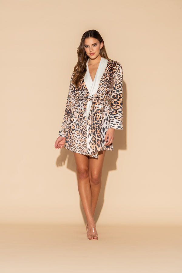Donnatella Leopard Short Robe