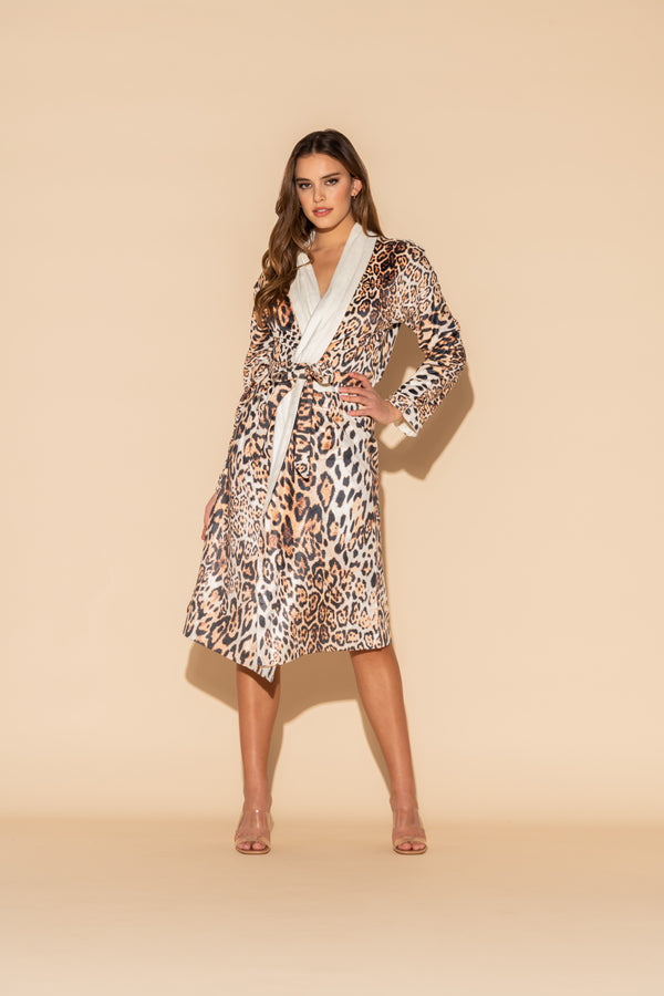 Donnatella Leopard Long Robe