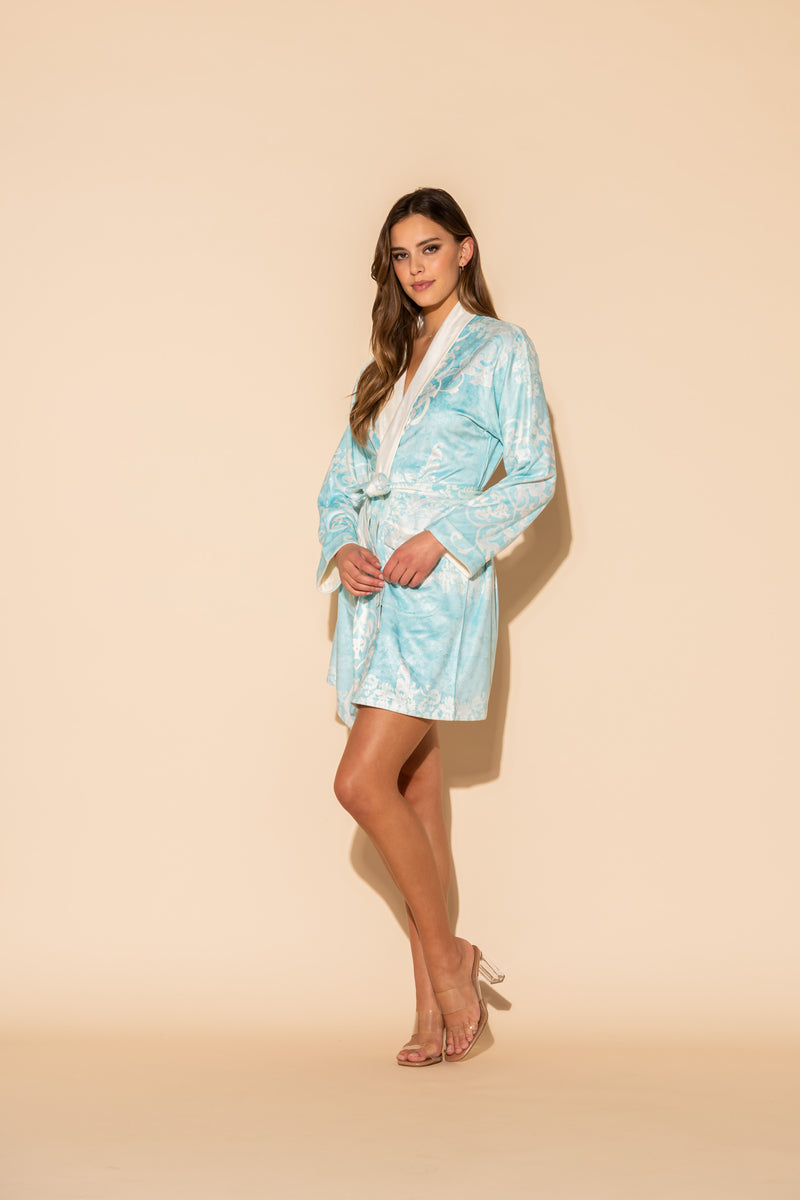 Romantique Blue Short Robe