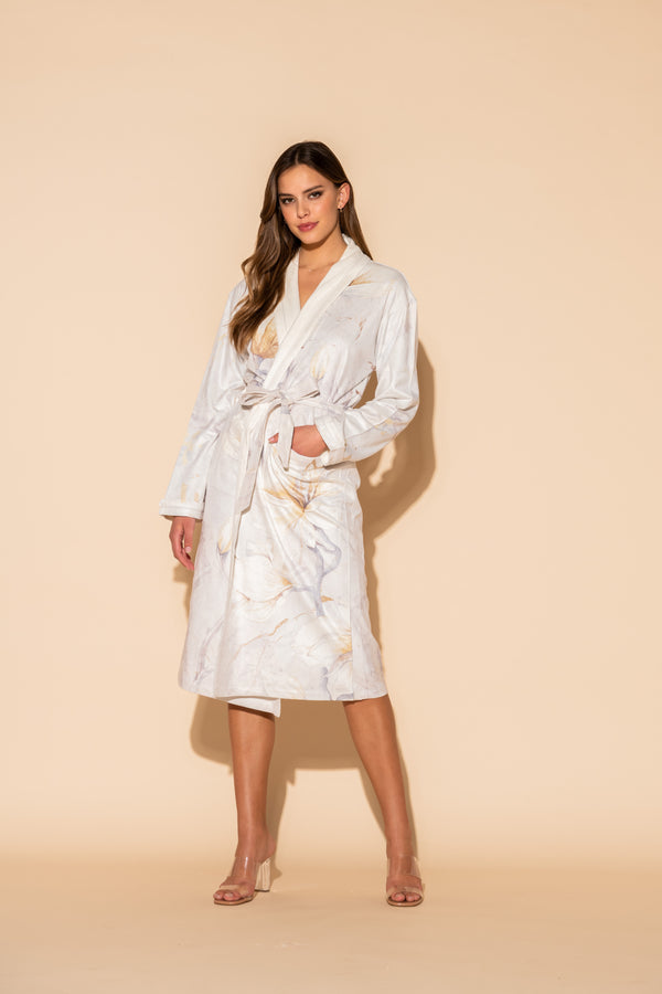 Serena White Long Robe