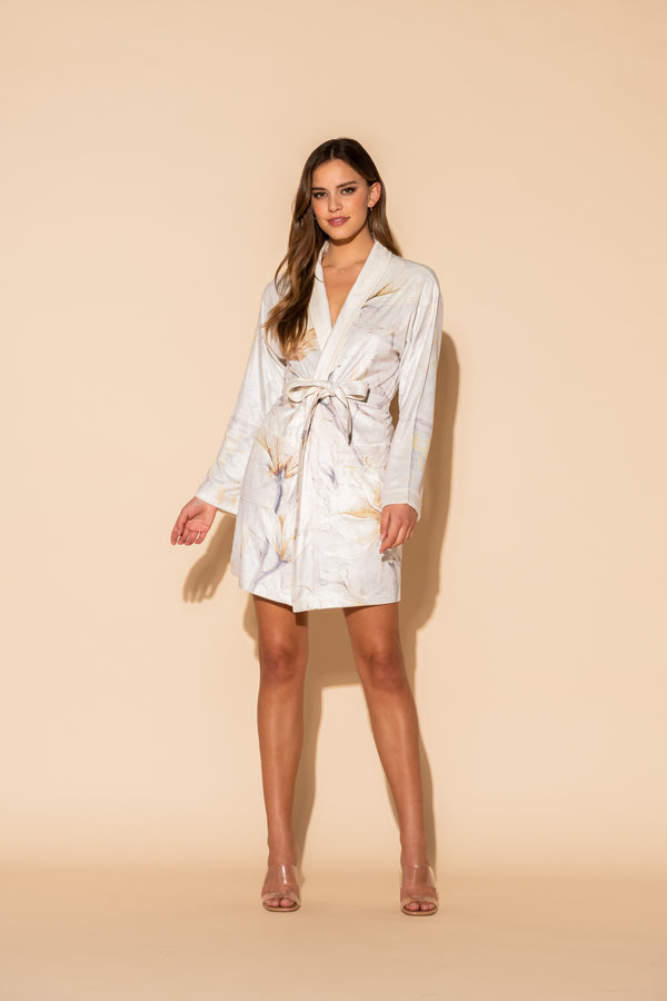 Serena White Short Robe