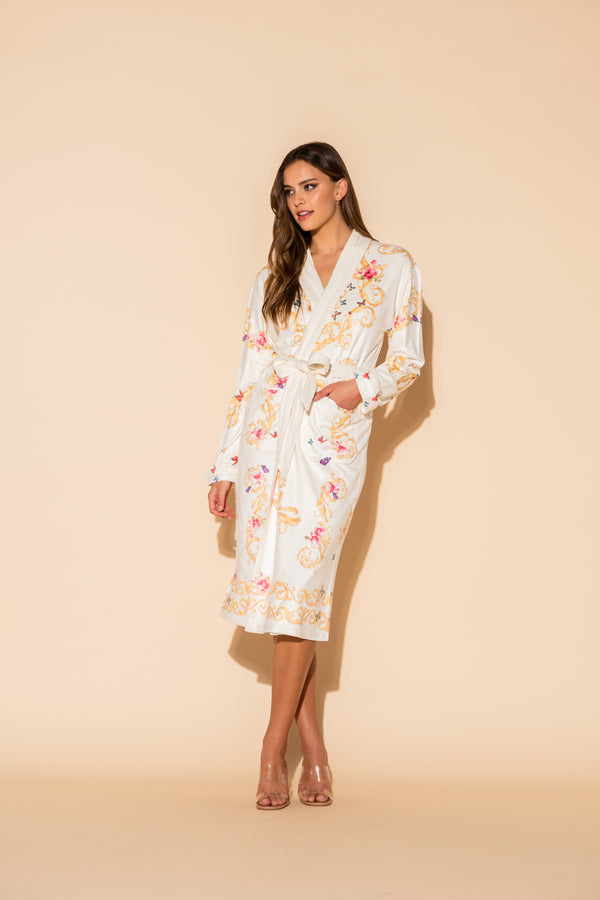White Butterflies Long Robe