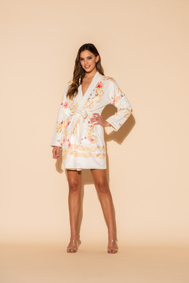 Gold Butterflies Short Robe