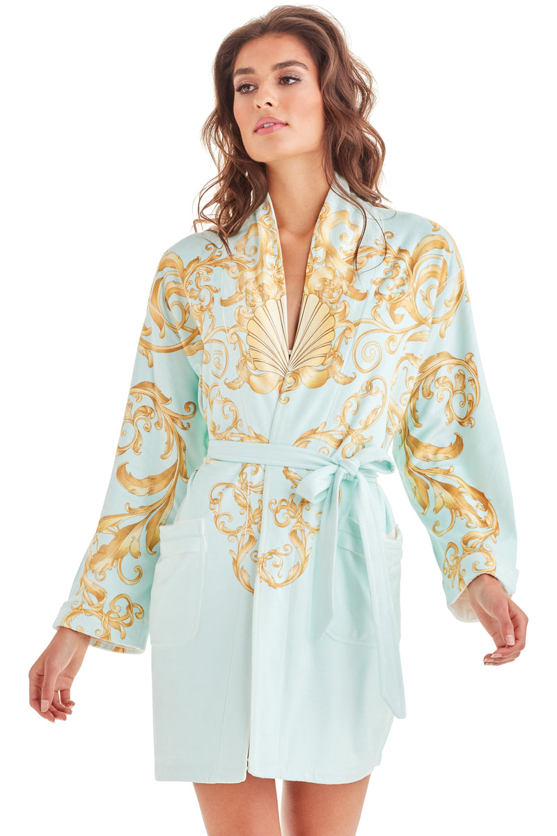 Baroque Seafoam Short Robe