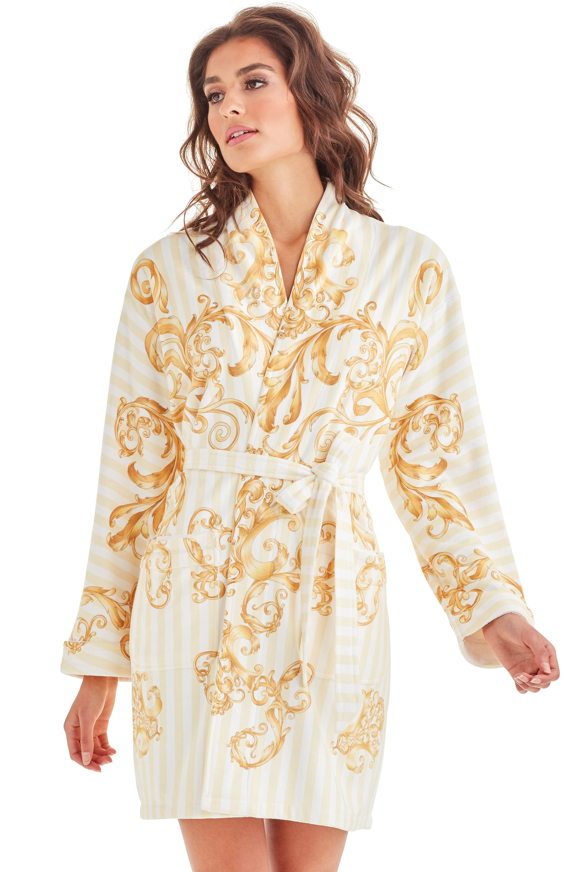 Baroque Stripes Short Robe