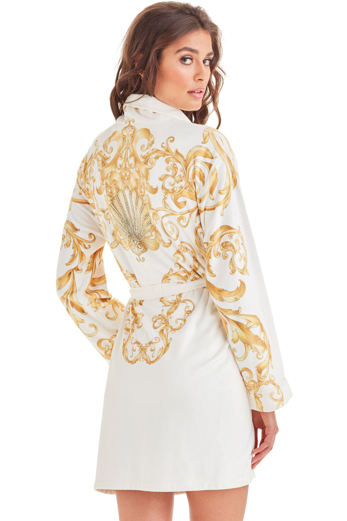 Baroque White Short Robe