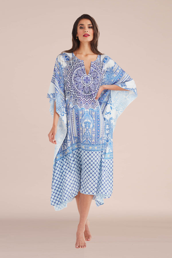Blue Ceramic Long Caftan