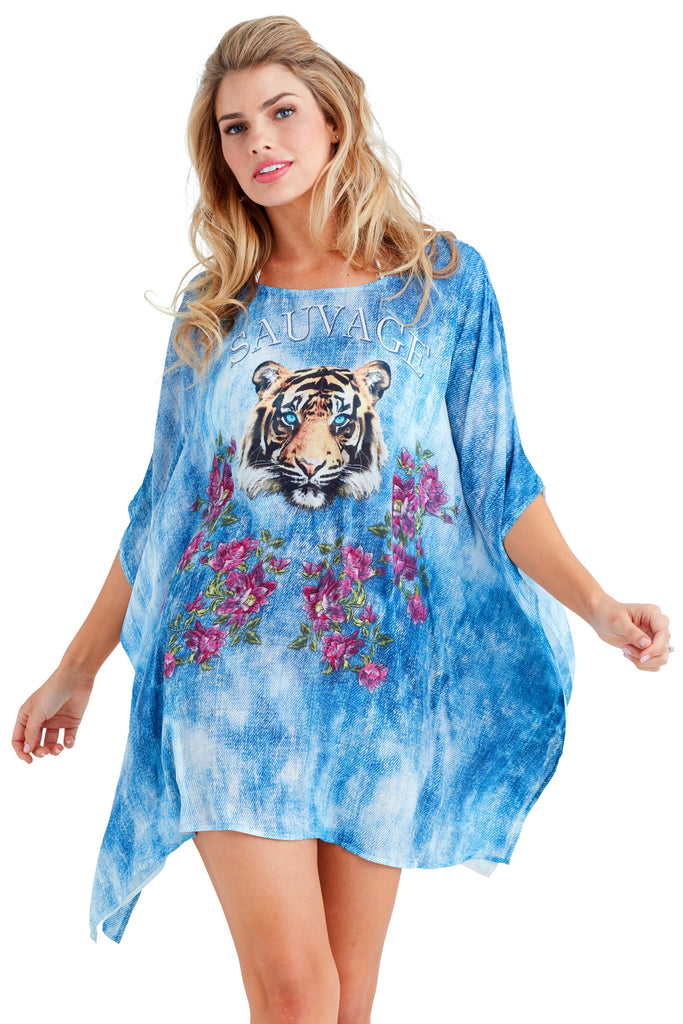 Sauvage Tiger Caftan Mini Dress