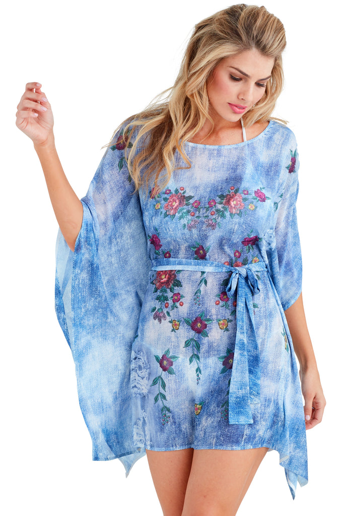 Blue Jean Caftan Mini Dress