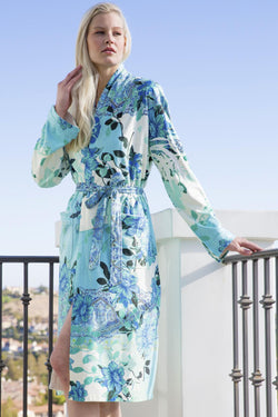 Floral Inspired Short Robe With Stones