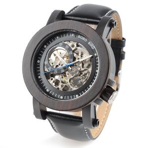 Ebony Skell Mechanical Automatic Watch - Mr. Wooden