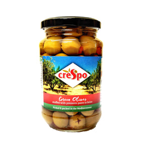Crespo - Green Olives - Stuffed with Pimiento Paste in Brine-The Italian Shop