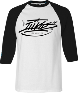 Black and white baseball tee, baseball t-shirt