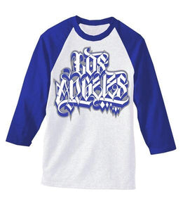 blue and white baseball tee, dodgers raglan
