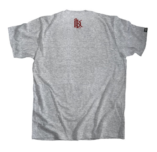 Gray and burgundy shirt, grey graff tee