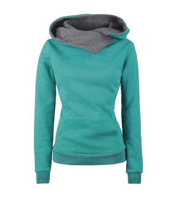 Women Casual Solid Pullover Hoodie with Lapel Turn-down Collar