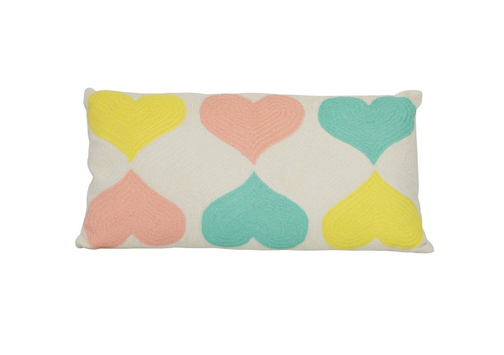 hundred percent cotton heart aqua yellow pink embroidered cushion cover insert 30 x 60 Pinata Kids Australia New Zealand