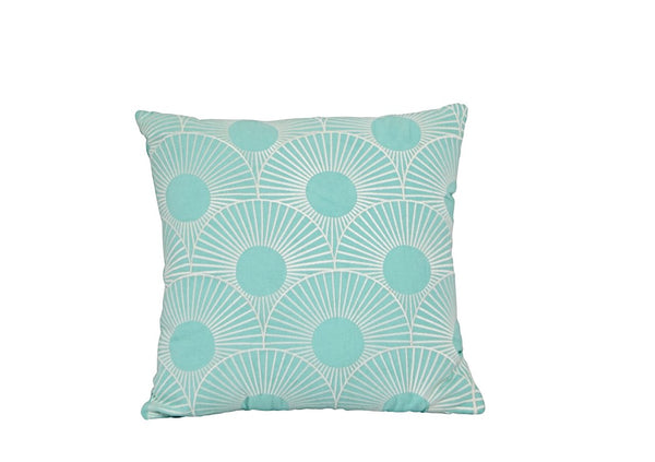 Cotton Embroidered Cushion Aqua White 50 x 50 New Zealand Australia