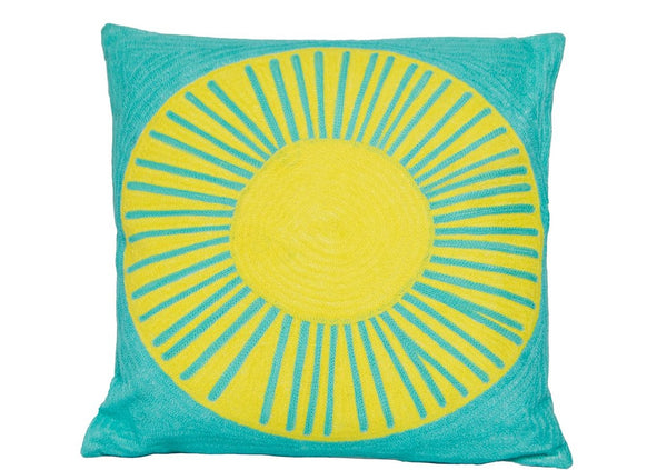 hundred percent cotton aqua yellow embroidered sun cushion cover insert 50 x 50 Pinata Kids Australia New Zealand