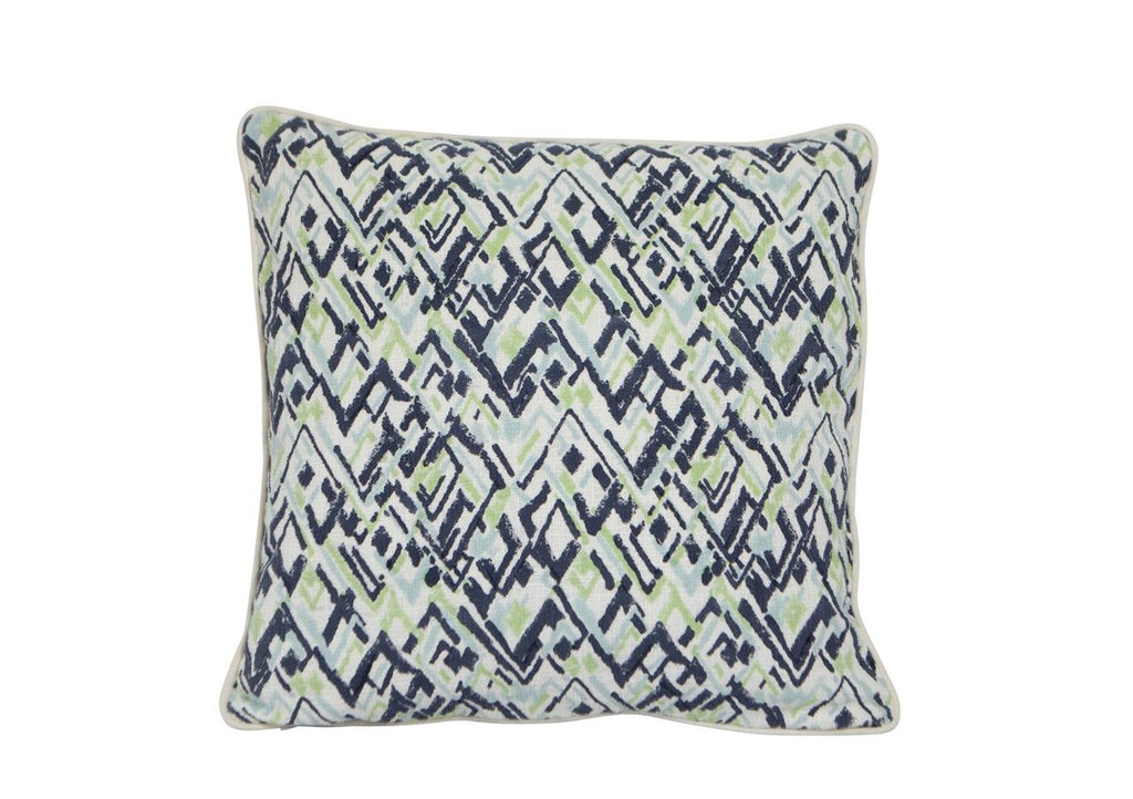 Handloom Cotton Zig Zag Mint Navy White Off White Cushion 50cm x 50cm New Zealand and Australia