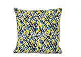 Handloom Cotton Zig Zag Grey Teal Yellow Black White Off White Cushion 50cm x 50cm New Zealand and Australia