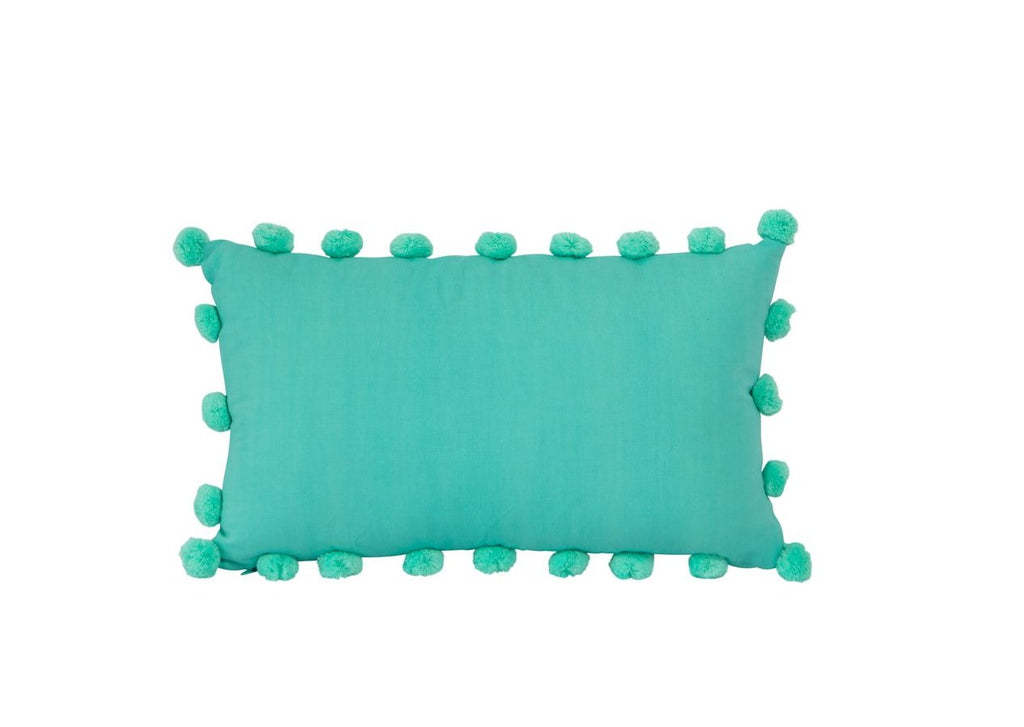 Linen Cotton Mixed rectangle pom pom Aqua 30 x 50 New Zealand Australia