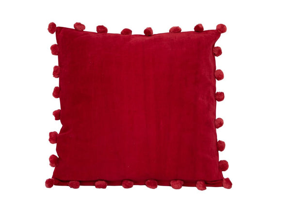 Cotton Velvet Red Square Pom Pom Cushion 50 x 50 New Zealand Australia