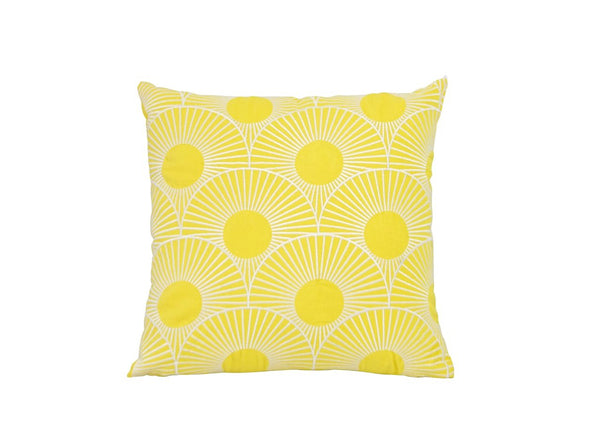 Cotton Embroidered Cushion Yellow White 50 x 50 New Zealand Australia
