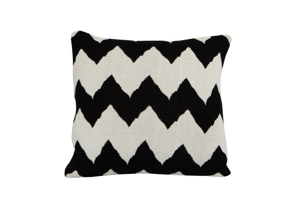 Cotton Woven Chevron Black White Square Cushion New Zealand Australia