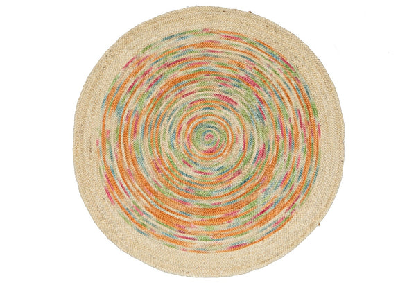 Hand Woven Jute rug Colour Swirls Pastel round 120cm New Zealand Australia