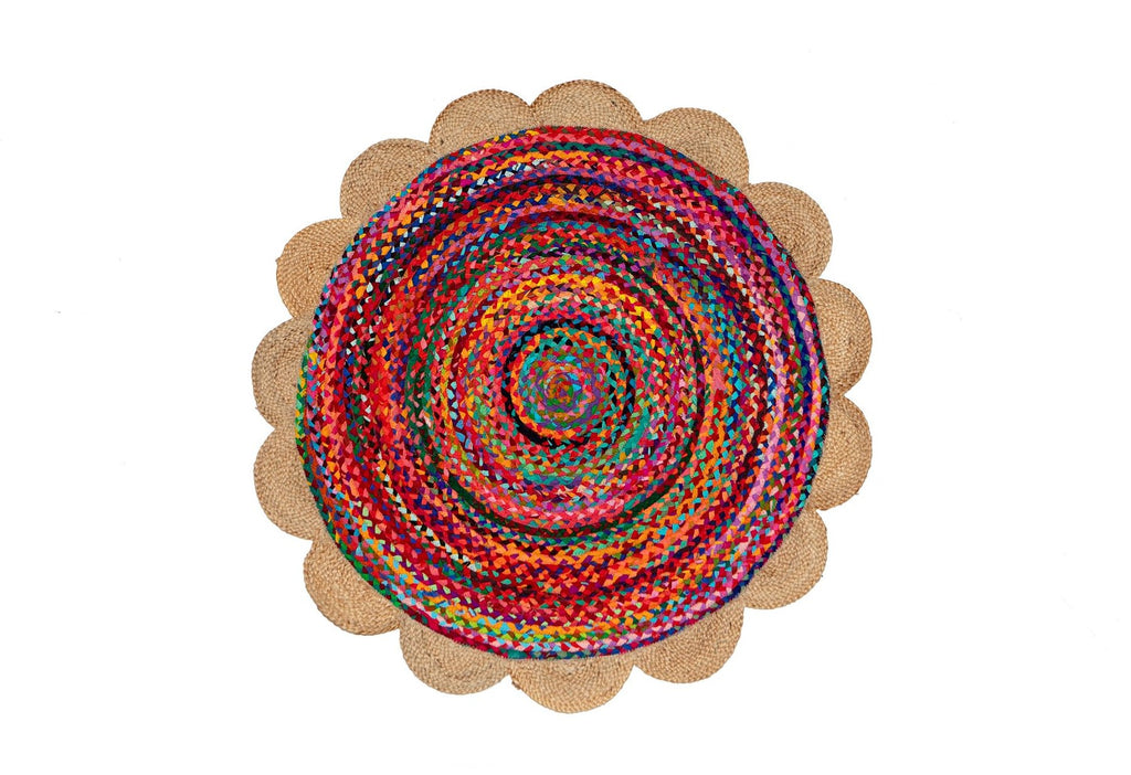 Round Flower Edge Jute Braided Cotton Colourful Rug 90cm 120cm Pinata Kids New Zealand Australia