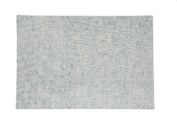 Woolen Hand Tufted Rectangle White Blue Light BLue Rug 120 x 80 New Zealand Australia